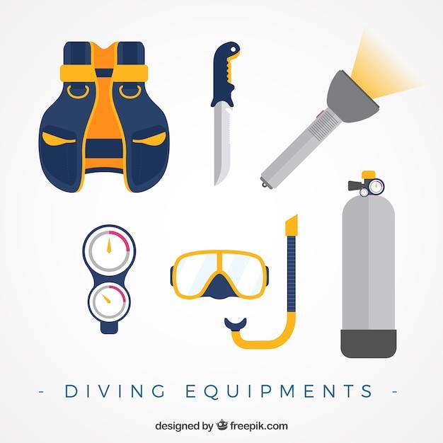 Diving equipment in flat design Free Vector
