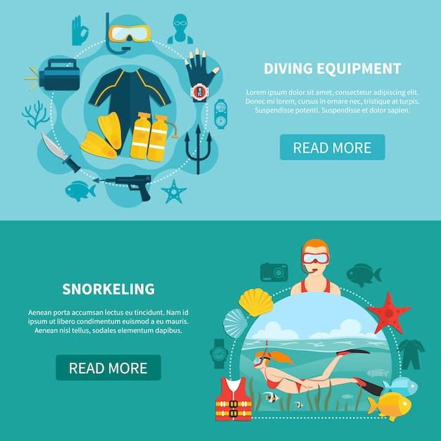 Diving equipment horizontal banners Free Vector