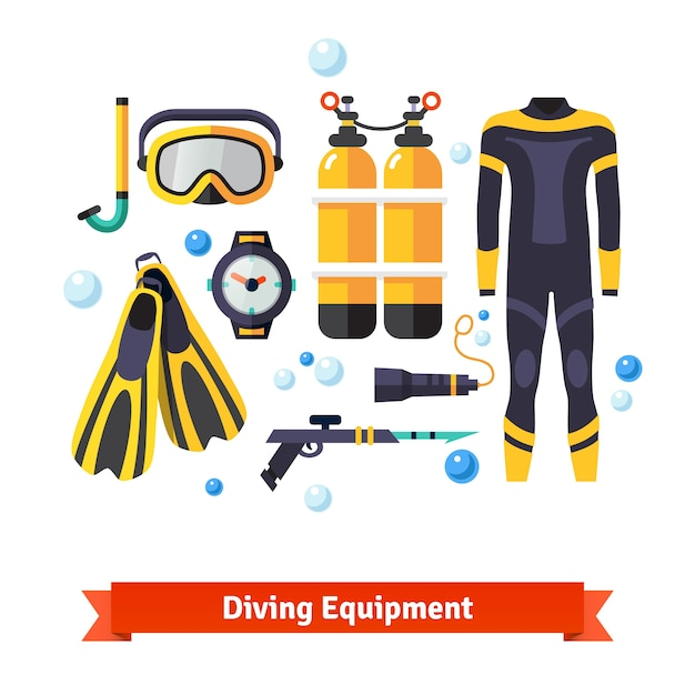 Diving equipment icons set Free Vector