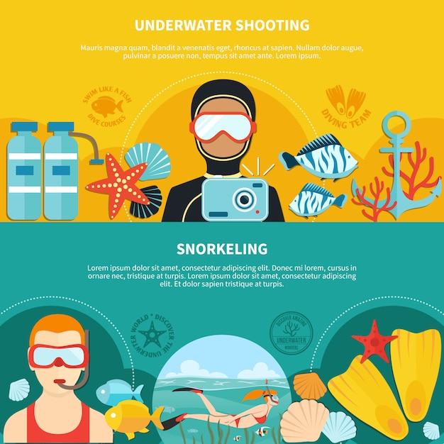 Diving horizontal banners Free Vector