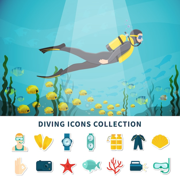 Diving icons collection Free Vector
