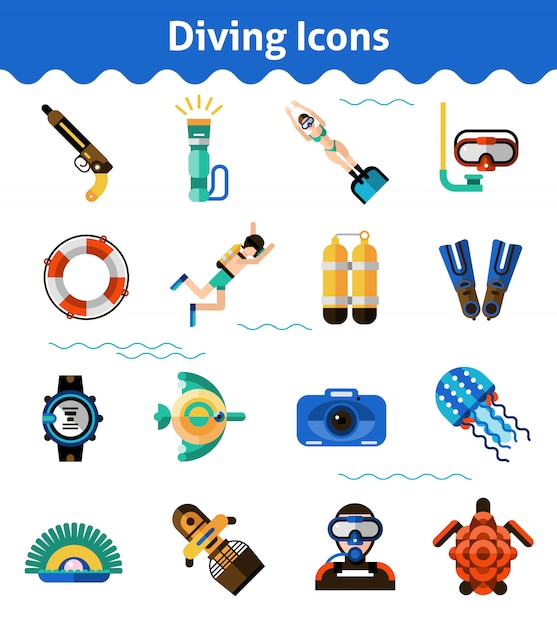Diving icons set Free Vector