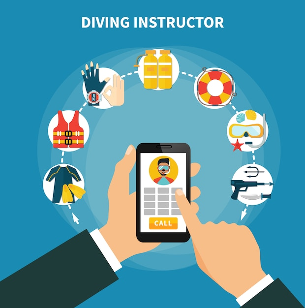 Diving instructor composition Free Vector