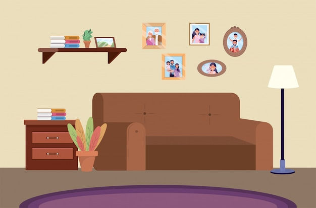 Diving room with sofa and family pictures Free Vector