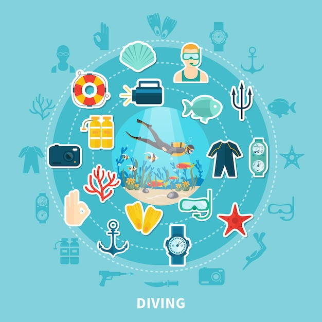 Diving round composition with scuba equipment, lifebuoy and underwater wildlife Free Vector