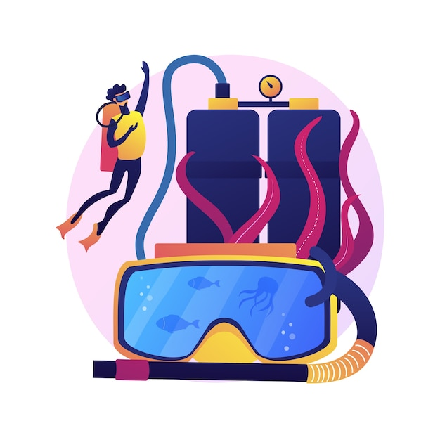 Diving school instructor. scuba diving, underwater recreation, snorkelling lesson. male diver in wetsuit and mask swimming with aqualung. Free Vector