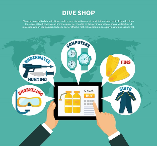 Diving shop buying online composition Free Vector