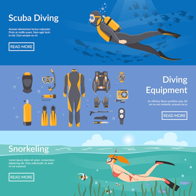 Diving and snorkeling banners Free Vector