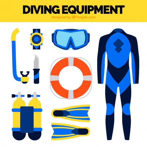 Diving wetsuit and flat elements Free Vector