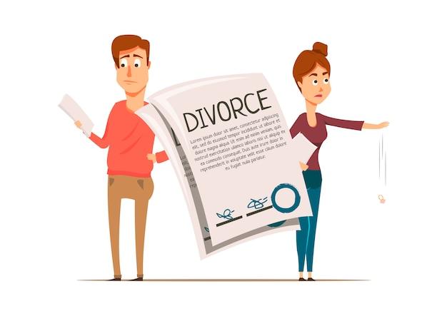 Divorce agreement couple composition Free Vector