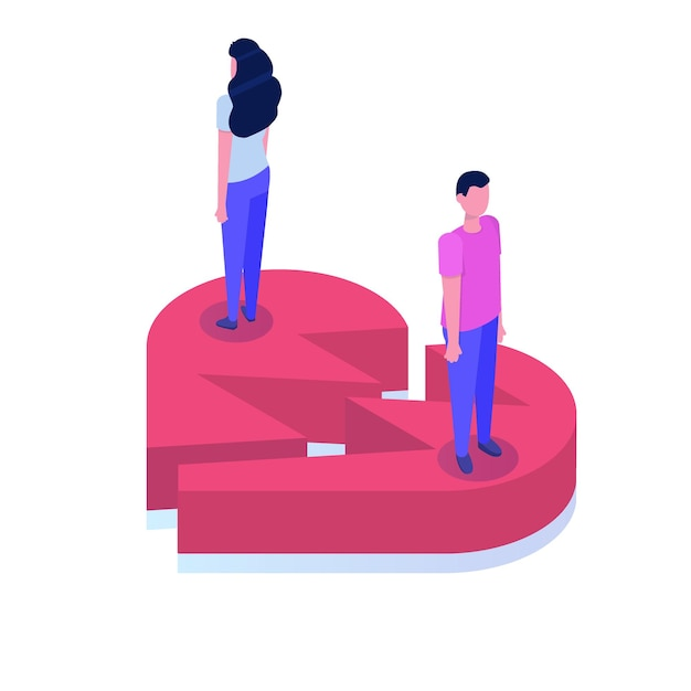 離婚、関係の概念の等角図を分割します。 Premiumベクター