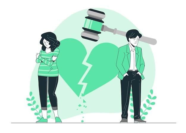 離婚の概念図 無料ベクター