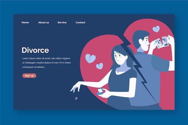 Концепция целевой страницы развода Бесплатные векторы