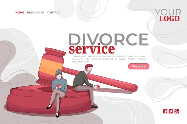 Divorce concept landing page template Free Vector