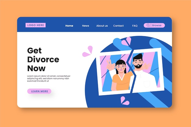 Divorce concept - landing page Free Vector