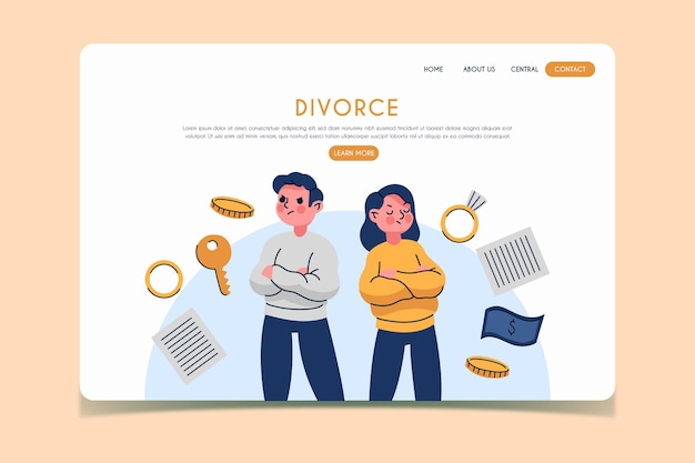 Divorce concept landing page Free Vector