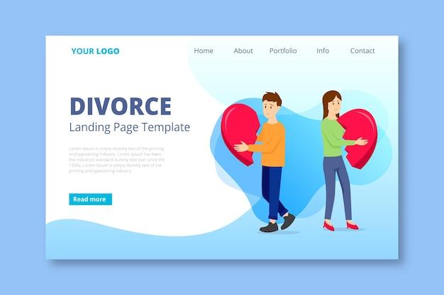Divorce concept landing page Free Vector