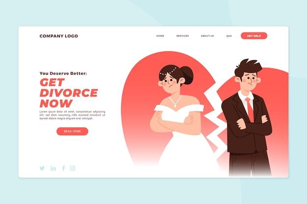 Целевая страница концепции развода Бесплатные векторы