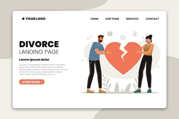 Концепция развода - целевая страница Бесплатные векторы
