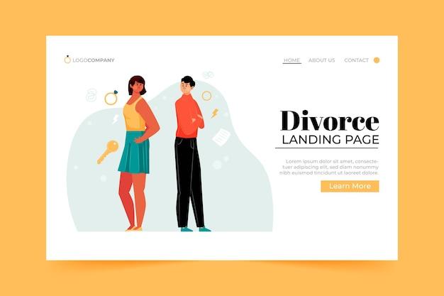 離婚コンセプトランディングページ 無料ベクター