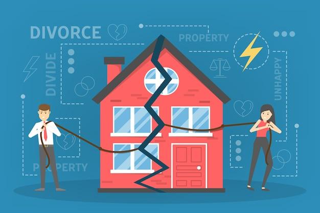 Понятие развода. люди распадаются и делят имущество Premium векторы