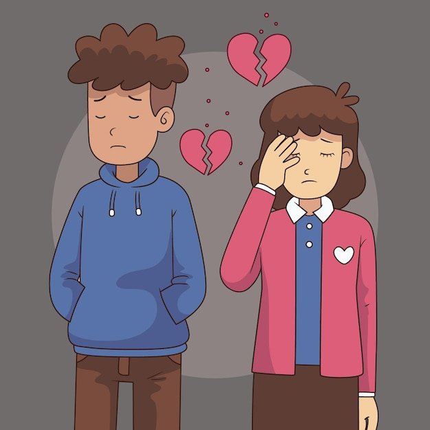 悲しいカップルとの離婚の概念 Premiumベクター