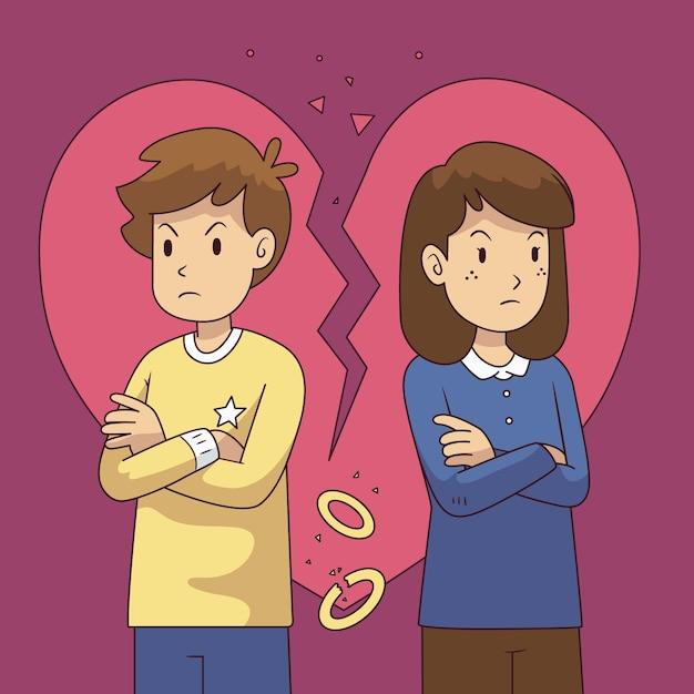 動揺のカップルとの離婚の概念 無料ベクター