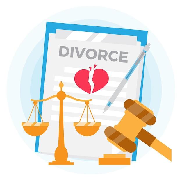 Divorce illustration concept Free Vector