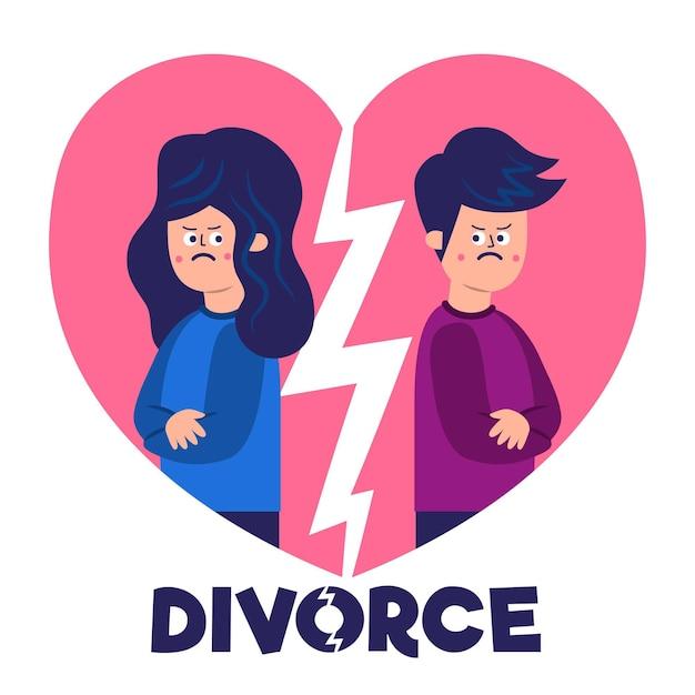 離婚イラストコンセプト 無料ベクター