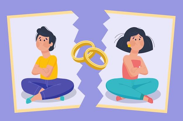Divorce illustration style Free Vector