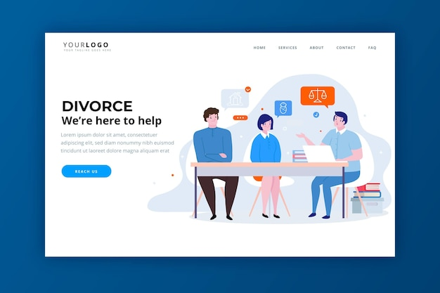 Divorce lawyer service landing page template Free Vector