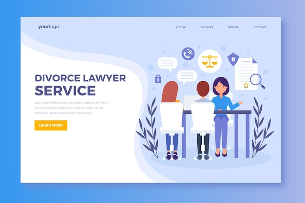 Divorce lawyer service landing page Free Vector