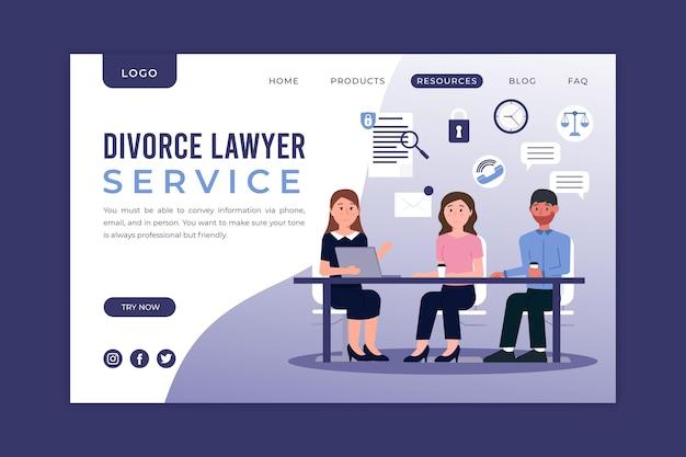 Развод адвокат службы - целевая страница Бесплатные векторы