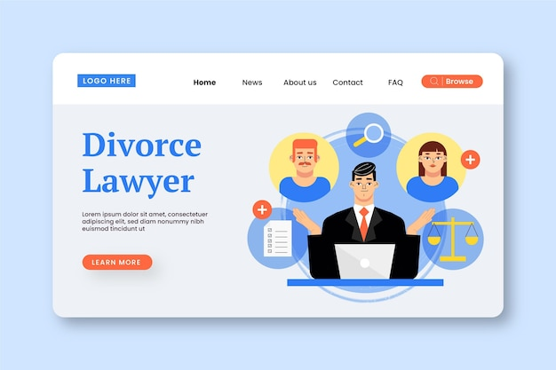 Divorce lawyer service - landing page Free Vector