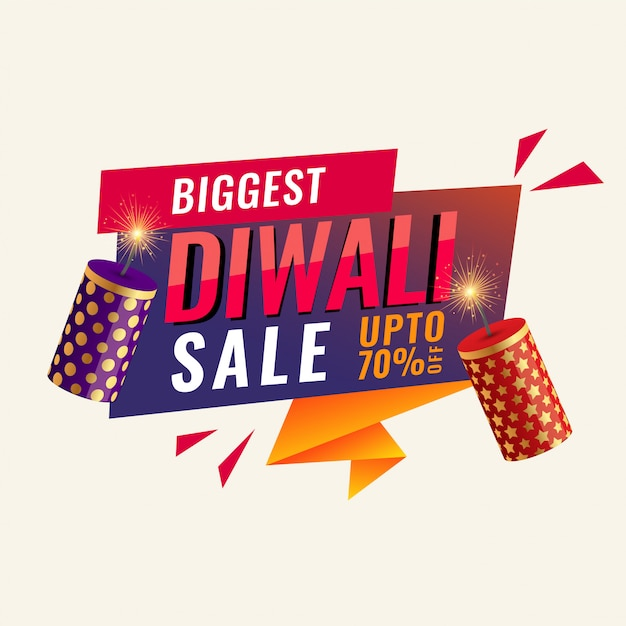 Diwali abstract sale banner with crackers Free Vector