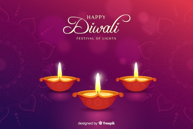 Diwali background in flat design Free Vector