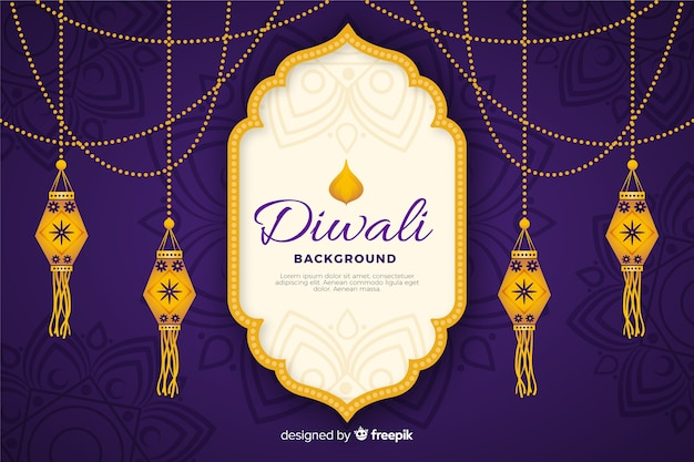 Diwali background in hand drawn Free Vector