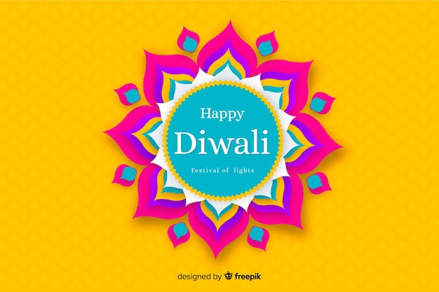 Diwali background in paper style in yellow shades Free Vector