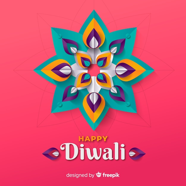 Diwali background in paper style Free Vector