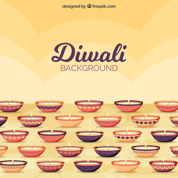 Diwali background with candles in flat design