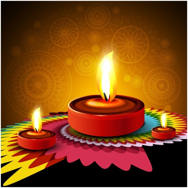 Diwali background with colorful ornament Vector | Free ...