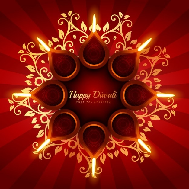 Diwali background with floral ornaments Free Vector