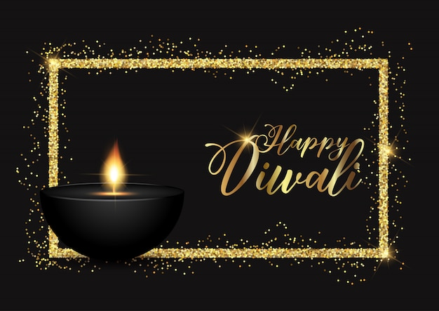 Diwali background with gold glittery border Free Vector