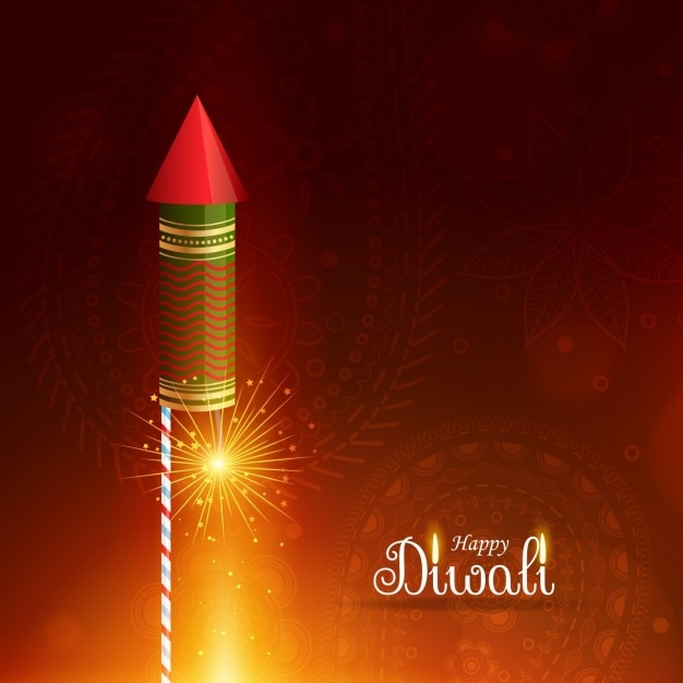 Diwali background with a rocket Free Vector