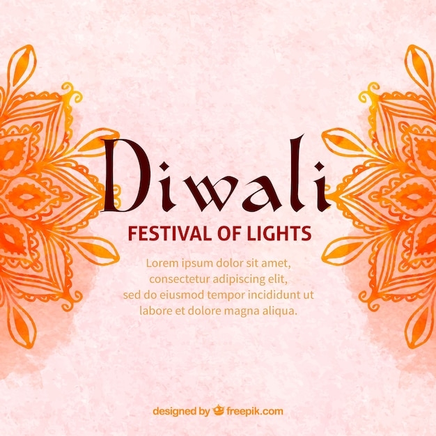 Diwali background with watercolor mandalas