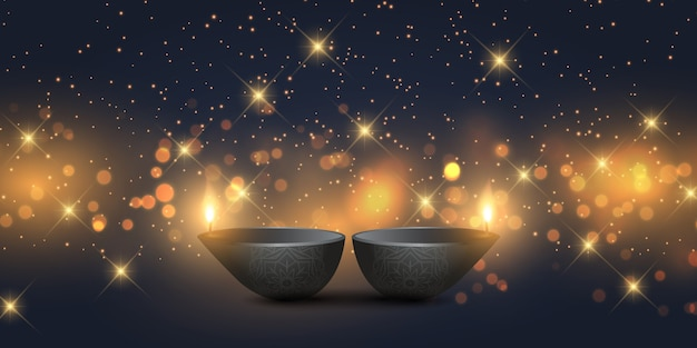 Design di banner diwali con lampade a olio e luci bokeh Vettore gratuito