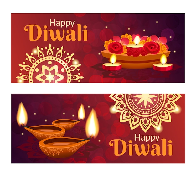 Diwali banners set Free Vector