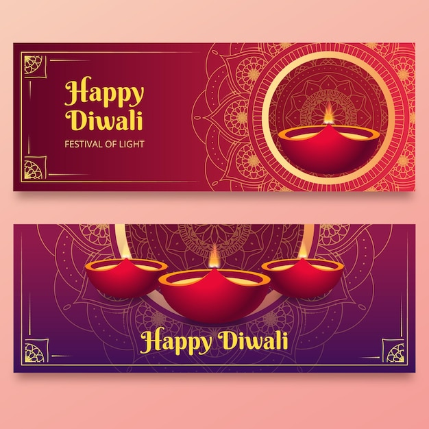 Diwali banners template Free Vector