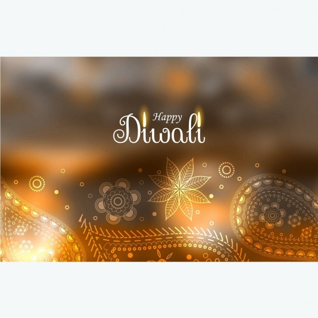 Diwali blurred background with hand-drawn floral details Free Vector
