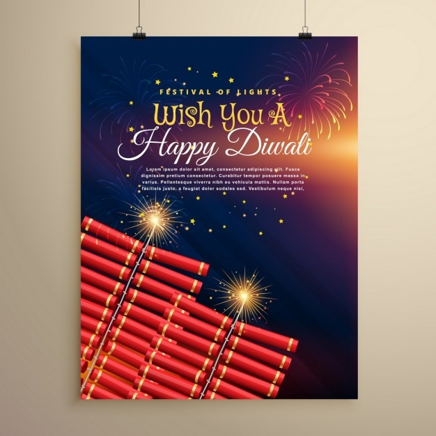 Diwali brochure with fireworks Free Vector
